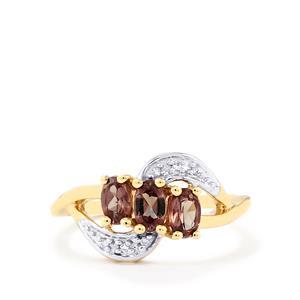 Colour Change Garnet & Diamond 9K Gold Ring ATGW 0.92cts