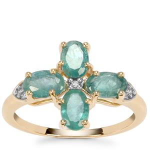 Grandidierite Ring with Diamond in 10k Gold 1.78cts