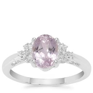 Brazilian Kunzite Ring with White Zircon in Sterling Silver 1.83cts