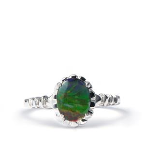 AA Ammolite Sterling Silver Ring (9x7mm)