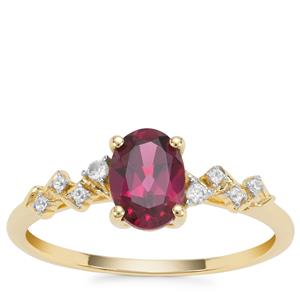 Rajasthan Garnet Ring with White Zircon in 9K Gold 1.06cts