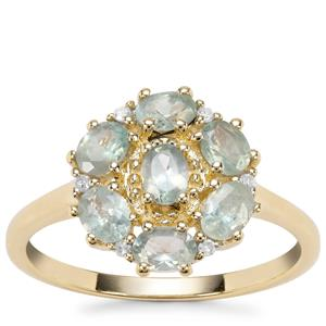 Alexandrite Ring with Diamond in 9K Gold 1.33cts