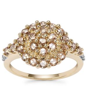 Champagne Diamond Ring with White Diamond in 9K Gold 1.03ct