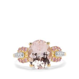 Nigerian Morganite, Pink Sapphire & White Zircon 9K Gold Ring ATGW 3.10cts