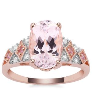 Kolum Kunzite, Sakaraha Pink Sapphire Ring with White Zircon in 9K Rose Gold 4.78cts