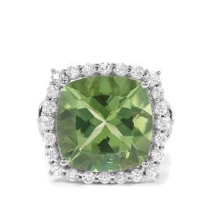 Fern Green Quartz & White Zircon Sterling Silver Ring ATGW 11cts