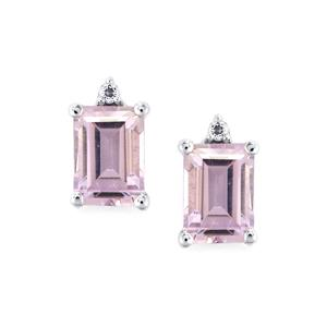 Rose De France Amethyst Earrings with White Topaz in Sterling Silver 2cts