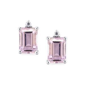 Rose De France Amethyst & White Topaz Sterling Silver Earrings ATGW 2cts