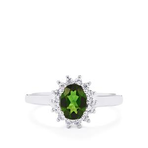 Chrome Diopside Ring with White Zircon in Sterling Silver 1.24cts