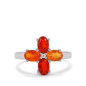 Mexican Fire Opal Ring with White Zircon in Sterling Silver 1.12cts