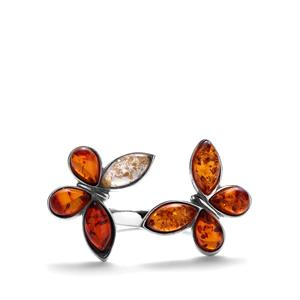 Baltic Cognac, Champagne & Cherry Amber Sterling Silver Ring