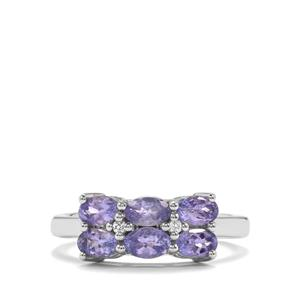 Tanzanite & White Topaz Sterling Silver Ring ATGW 1.75cts