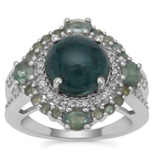 Grandidierite Orissa Alexandrite Ring with White Zircon in Sterling Silver 5.65cts