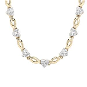 Canadian Diamond Necklace in 9K Gold 1cts