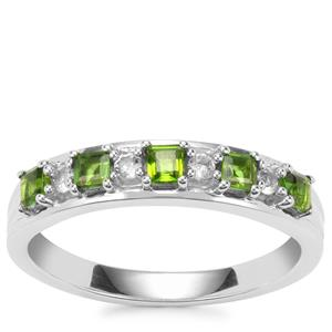 Chrome Diopside Ring with White Topaz in Sterling Silver 0.55ct