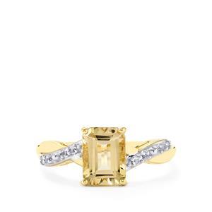 Champagne Danburite & White Sapphire 10K Gold Ring ATGW 1.70cts