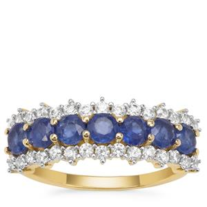 Burmese Blue Sapphire Ring with White Zircon in 9K Gold 2cts