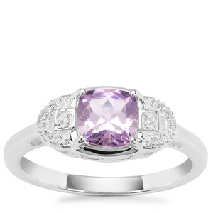 Rose du Maroc Amethyst Ring with White Zircon in Sterling Silver 1cts