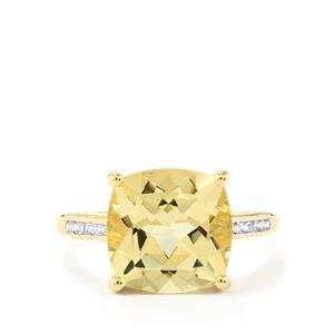 Serenite & White Zircon 10K Gold Ring ATGW 4.82cts