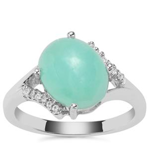 Prase Green Opal Ring with White Zircon in Sterling Silver 3.17cts