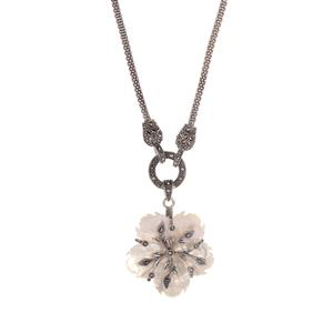 Natural Marcasite &  White Mother of Pearl Sterling Silver Jewels of Valais Necklace