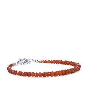 Rhodolite Red Garnet Graduated Bead Bracelet in Sterling Silver 21.50cts