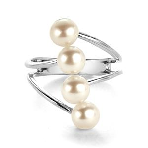 White Freshwater Cultured Pearl Ring  in Sterling Silver