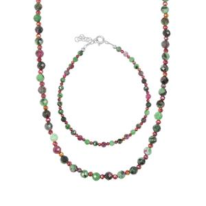 Ruby-Zoisite Set of Bead Bracelet & Necklace with Mystic Haematite in Sterling Silver 48.95cts