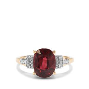 Malawi Garnet Ring with Diamond in 18K Gold 3.51cts