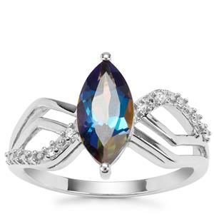 Mystic Blue Topaz Ring with White Zircon in Sterling Silver 2.28cts