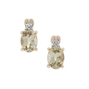 Csarite® Earrings with Diamond in 9K Gold 1.72cts