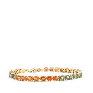 15.37ct Rainbow Sapphire 10K Gold Bracelet