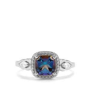 Mystic Blue Topaz & White Zircon Sterling Silver Ring ATGW 7.12cts