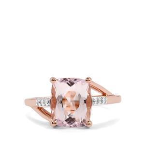 Minas Gerais Kunzite & Diamond 9K Rose Gold Ring ATGW 3.53cts