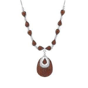 Anthill Garnet & White Zircon Sterling Silver Necklace ATGW 2.60cts
