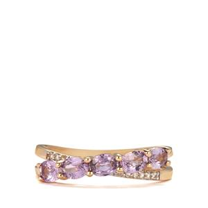 Natural Purple Sapphire Ring with White Zircon in 10K Gold 1.11cts