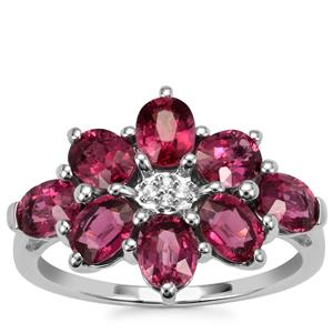 Malawi Garnet Ring with White Topaz in Sterling Silver 3.87cts