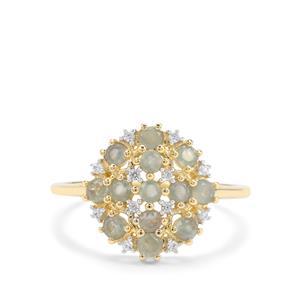 Orissa Alexandrite & White Zircon 9K Gold Ring ATGW 0.76ct