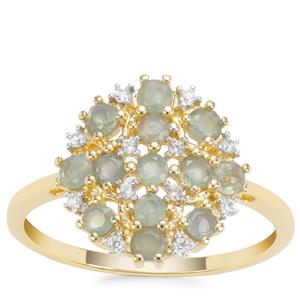 Orissa Alexandrite Ring with White Zircon in 9K Gold 0.76ct