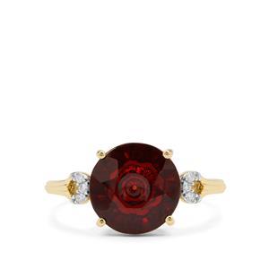 Lehrer Quasar Cut Rajasthan Garnet Ring with Diamond in 9K Gold 4.20cts