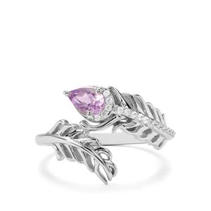 Moroccan Amethyst & White Zircon Sterling Silver Ring ATGW 0.43cts