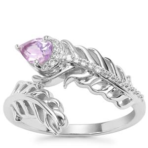 Moroccan Amethyst Ring with White Zircon in Sterling Silver 0.43ct