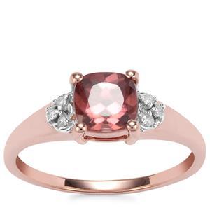 Zanzibar Sunburst Zircon Ring with Diamond in 9K Rose Gold 1.48cts