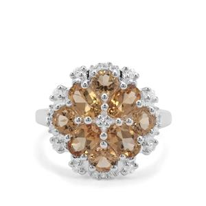 Golden Tanzanian Scapolite & White Zircon Sterling Silver Ring ATGW 2.86cts