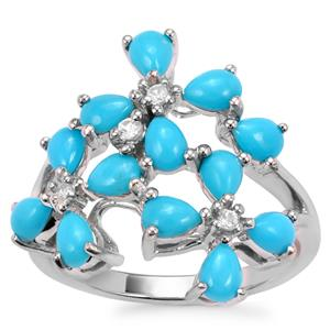 Sleeping Beauty Turquoise Ring with White Zircon in Sterling Silver 1.86cts