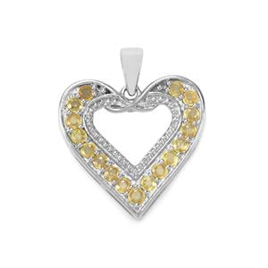 1.45ct Songea Yellow Sapphire Sterling Silver Pendant