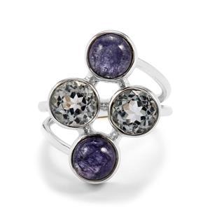 Tanzanite & Sky Blue Topaz Sterling Silver Aryonna Ring ATGW 8cts