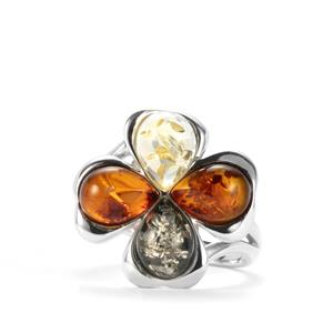 Baltic Cognac, Champagne & Green Amber Sterling Silver Ring (9 x 6mm)