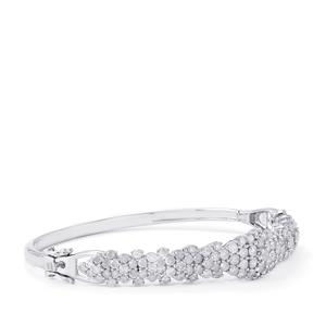 Diamond Oval Bangle in Sterling Silver 5ct