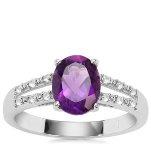 Bahia Amethyst Ring with White Zircon in Sterling Silver 1.79cts